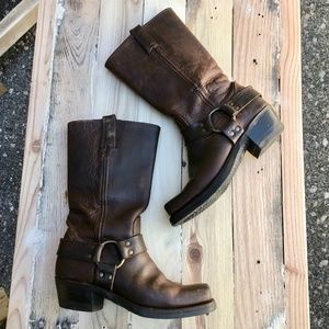 Frye Leather Pull On Harness Boots in Cognac Sz. 7
